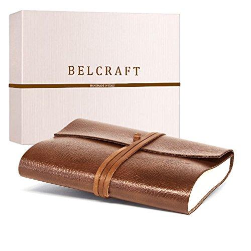 Tivoli A5 Journal Intime/Carnet de Notes en cuir recyclé de fabrication artisanale Italienne, Cadeau Spécial, Journal de Voyage, Notebook A5 (15x21 cm) Brun Clair