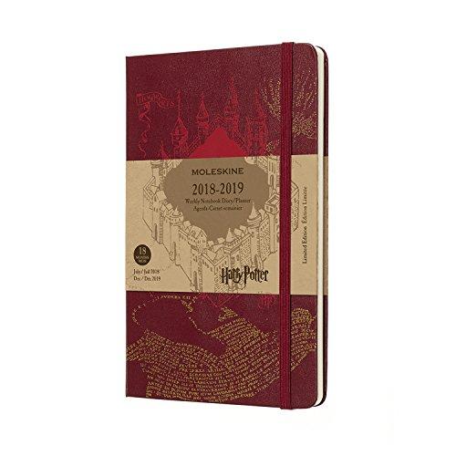 Moleskine 2018-2019 Agenda Semainier, 18 Mois, Harry Potter, Édition Limitée, Format Large, Rouge