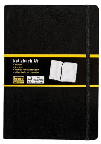 Idena 209284 Carnet ligné avec marque-page et poche intérieure Label FSC Mix Noir A5