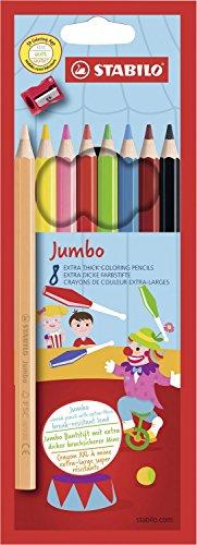 Crayon de coloriage - STABILO Jumbo - Étui carton de 8 crayons de couleur mine extra-large + un taille-crayon