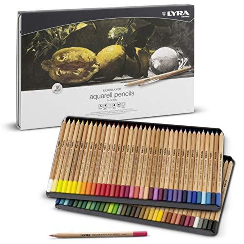 Lyra - Coffret métal de 72 crayons de couleur aquarellables Rembrandt, couleurs assorties