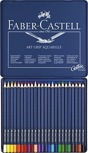 Faber-Castell 114224 Crayon ART GRIP AQUARELLE boîte métal de 24