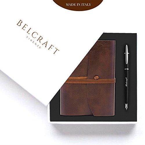 Belcraft Coffret Cadeau Spécial composé de Journal Intime/Carnet de Notes Brun, Élégant Stylo Plume dans un Emballage Cadeau, Élégance d'un artisanat Made in Italy