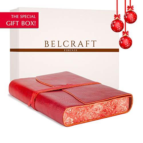 Venezia Romantica A5 Journal Intime/Carnet de Notes en cuir de fabrication artisanale Italienne, Journal de Voyage, Notebook A5, Cadeau Spécial (15x21 cm) Rouge